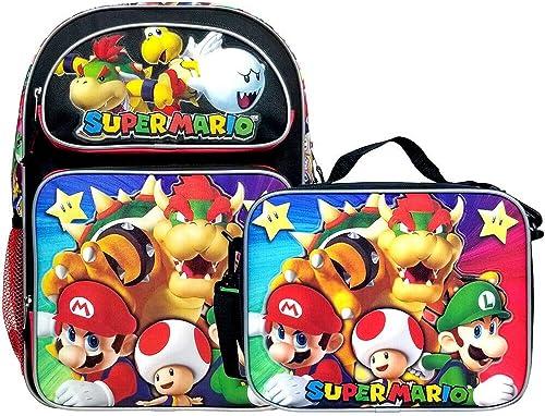 Super Mario Bros Super Bowser 16 Backpack Lunch Bag Set