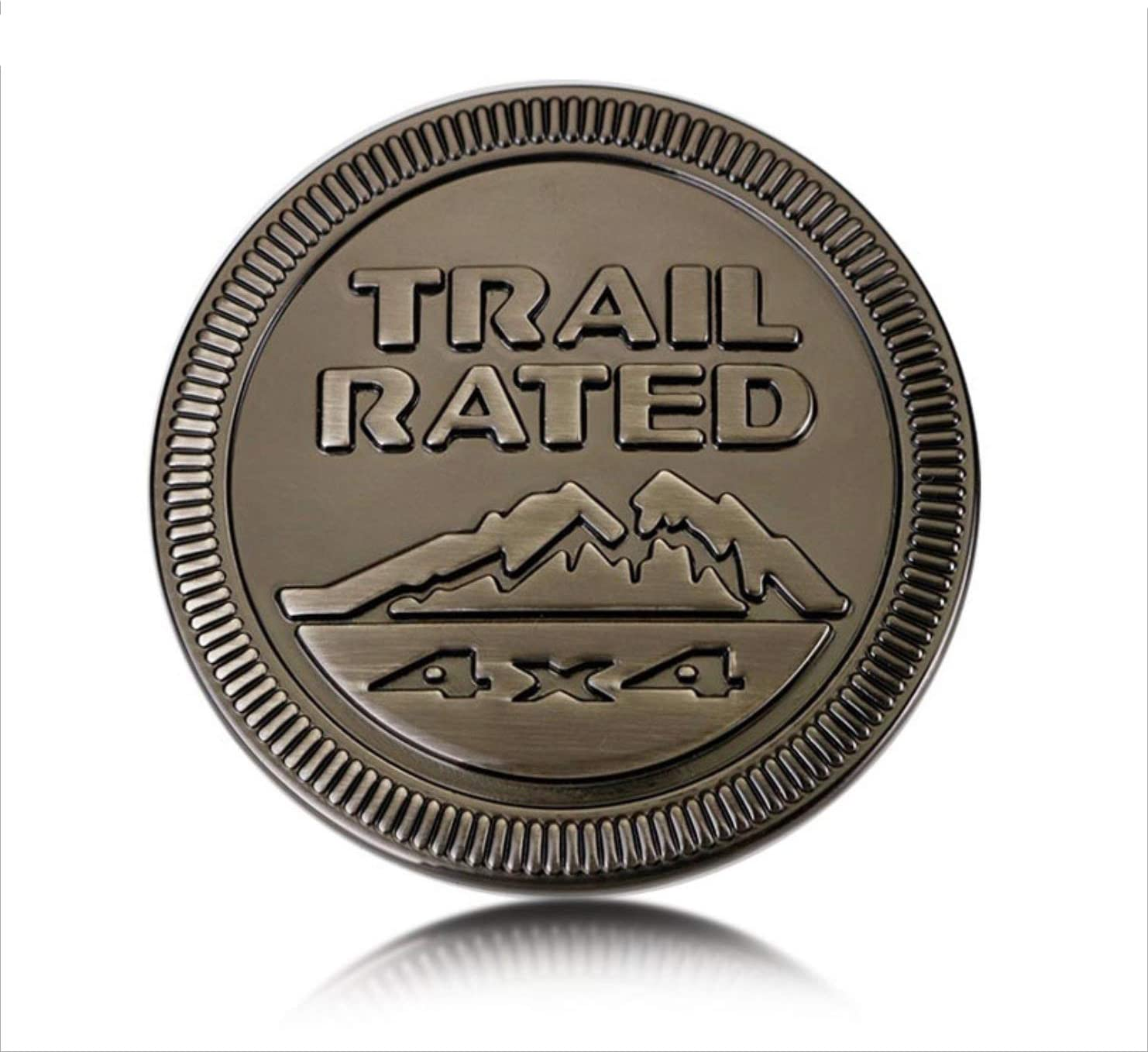 Red Jeep Wrangle Trail Rated Metal Badge Emblem Sticker Decal