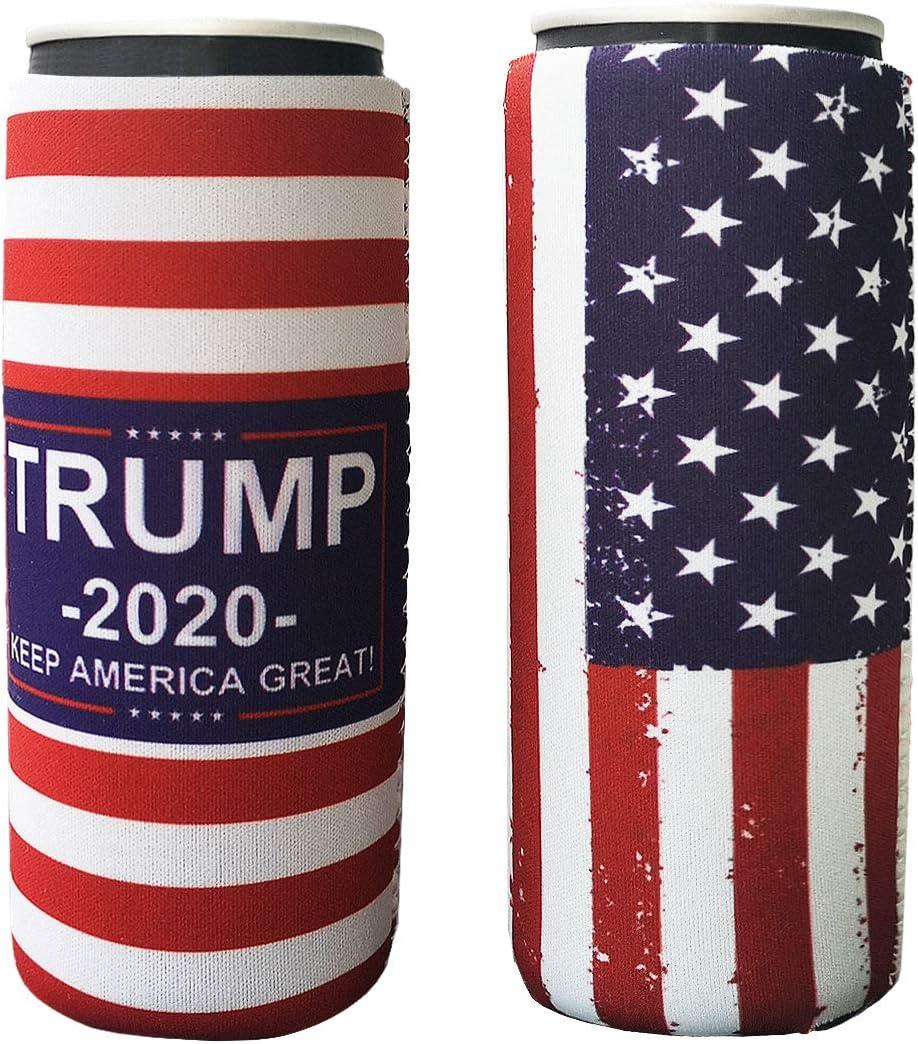 2 Pack Neoprene Slim Beer Can Sleeves, Insulators Beer Can Cooler Covers Fit for 12oz Slim Energy Drink Beer Cans (America Flag+Trump2020)
