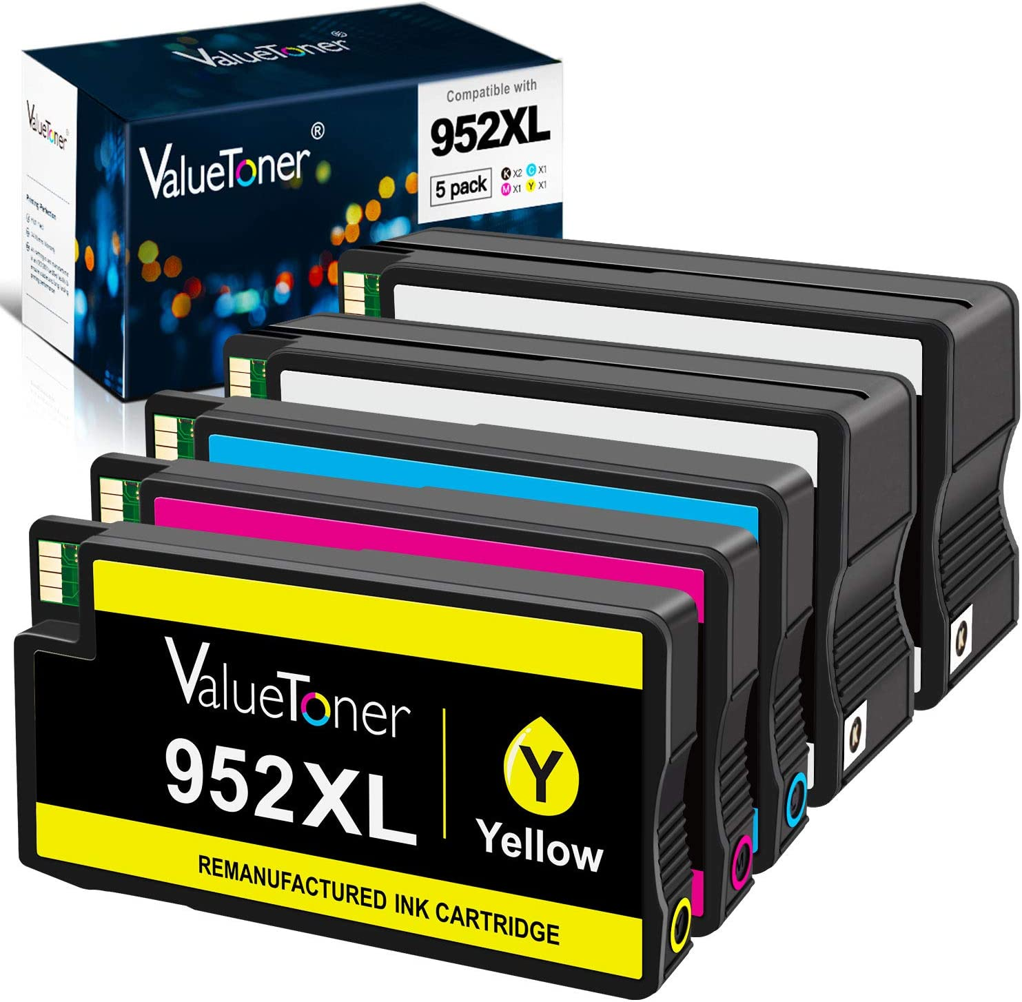 Valuetoner Remanufactured Ink Cartridges Replacement for HP 952 XL 952XL 952 High Yield for OfficeJet Pro 8710 8720 7740 8740 7720 8715 8702 Printer (2 Black,1 Cyan,1 Magenta,1 Yellow, 5 Pack)