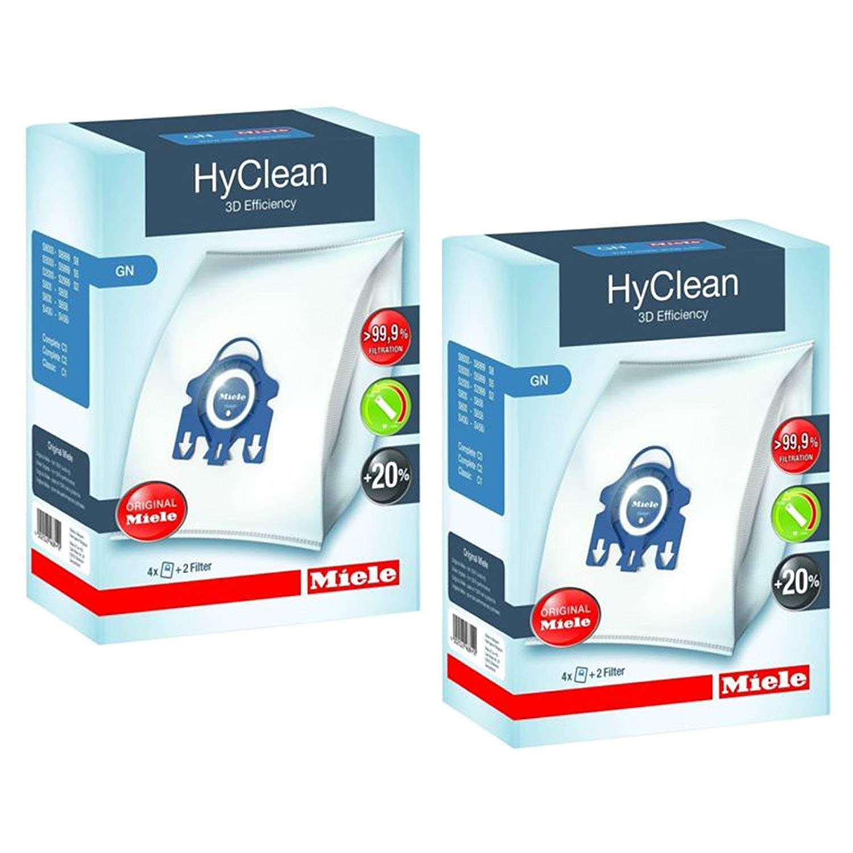 GenMiele Miele Dust Bag AirClean 3D Efficiency Dust Bag, Type GN, (2Pack = 8 Bags & 4 Filters)
