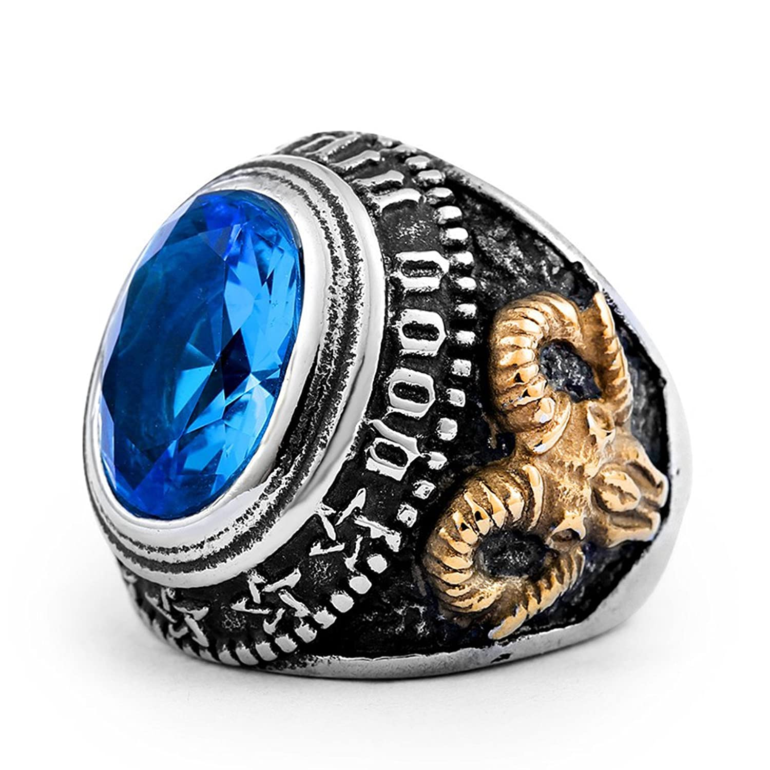 LILILEO Jewelry Titanium Steel Retro Gold Goat Skull Blue Zircon Masonic Ring For Men's Rings