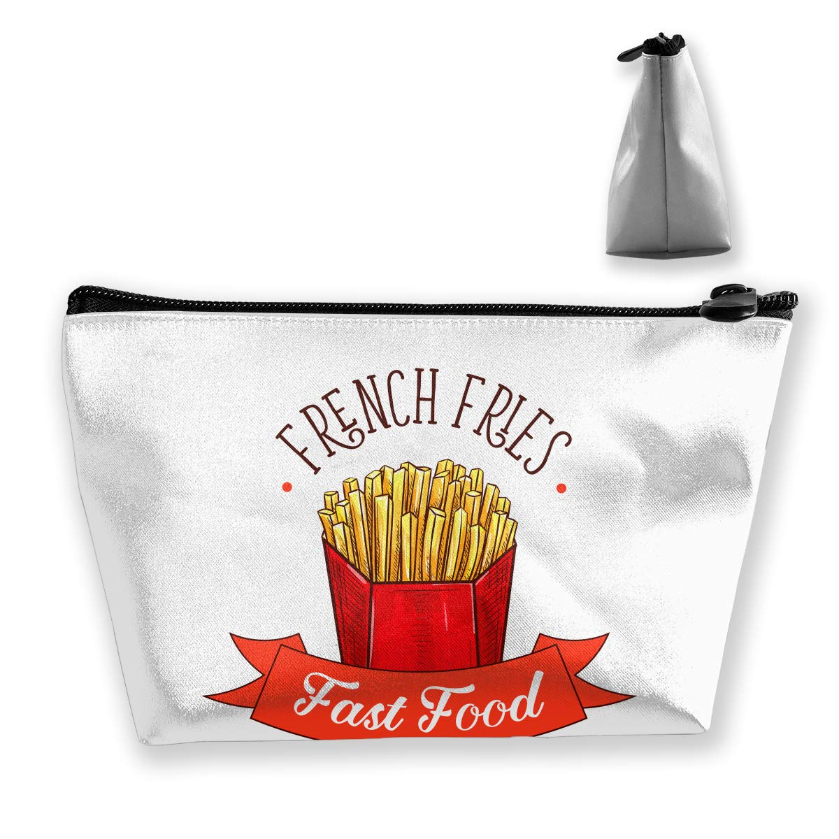 Trapezoid Toiletry Pouch Portable Travel Bag Fries Fast Food Clutch Bag