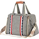 Baby Diaper Bag, Large Stylish Tote Convertible Travel Baby Bag for Boys Girls with Changing Pad, Insulated Pockets…