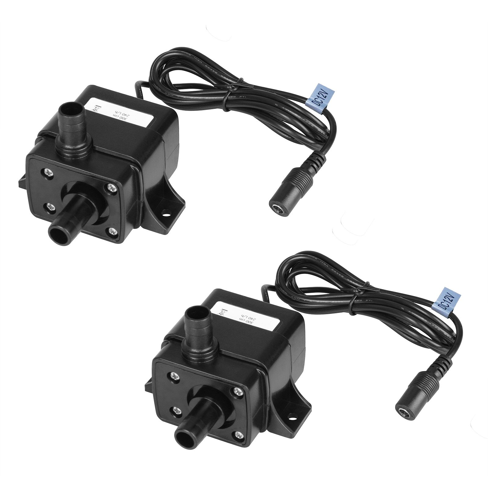 MOUNTAIN_ARK 2 Pack 63 GPH (240L/H) Submersible Water Pump DC 12V 3.6W 9.8ft Lift for Fish Tank Pumping, Rockery Water, Bonsai Fountain,Fresh Water Only