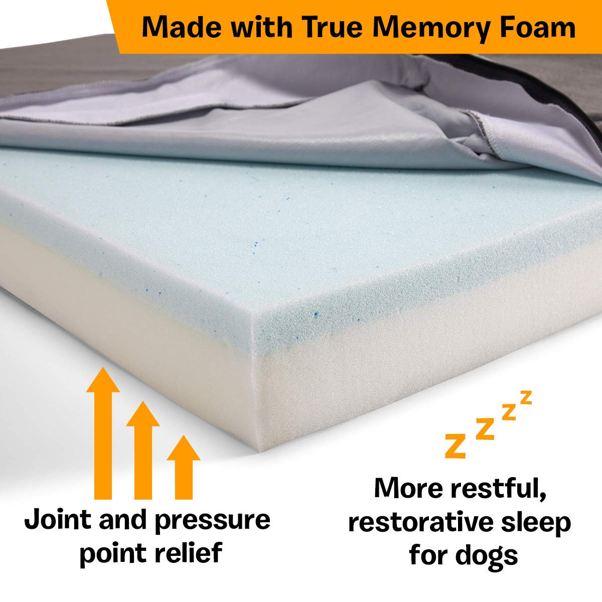 BarkBox X-Large Jumbo Gray Plush Orthopedic Memory Foam Dog Bed or Crate Mat | Removable Washable Cover - Free Surprise! by BarkBox (Image #4)