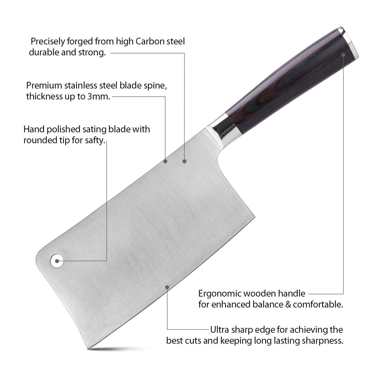 Meat Cleaver Professional Butcher Knife Cleaver Knives Vegetable Cutter Heavy Duty Chopper Butcher High Carbon Stainless for Home Kitchen or Restaurant by CUSIBOX (Image #6)