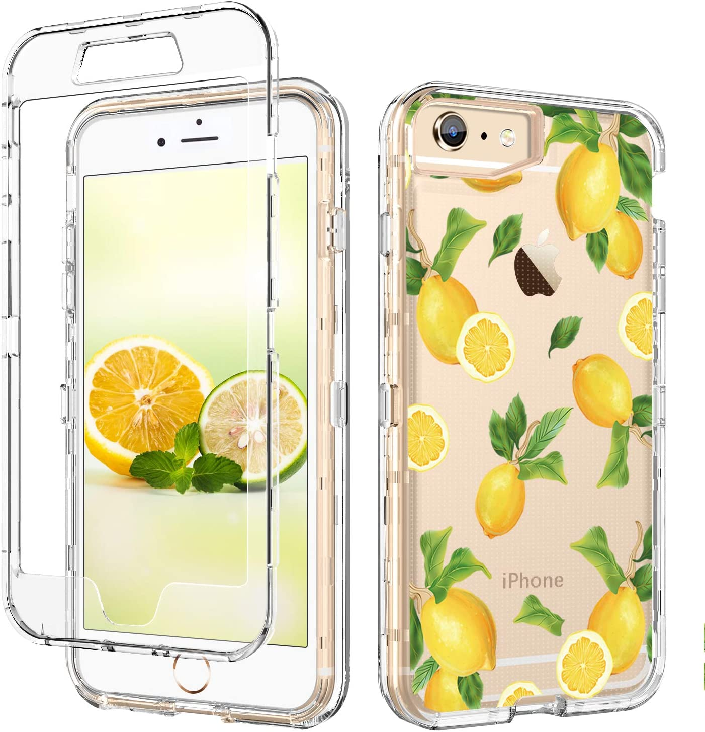 GUAGUA iPhone 6S Plus Case,iPhone 6 Plus Case Lemon Clear Transparent Cover Fruit Printed Three Layer Hybrid Hard Plastic Soft Rubber Shockproof Protective Phone Case for iPhone 6 Plus/6S Plus,Yellow