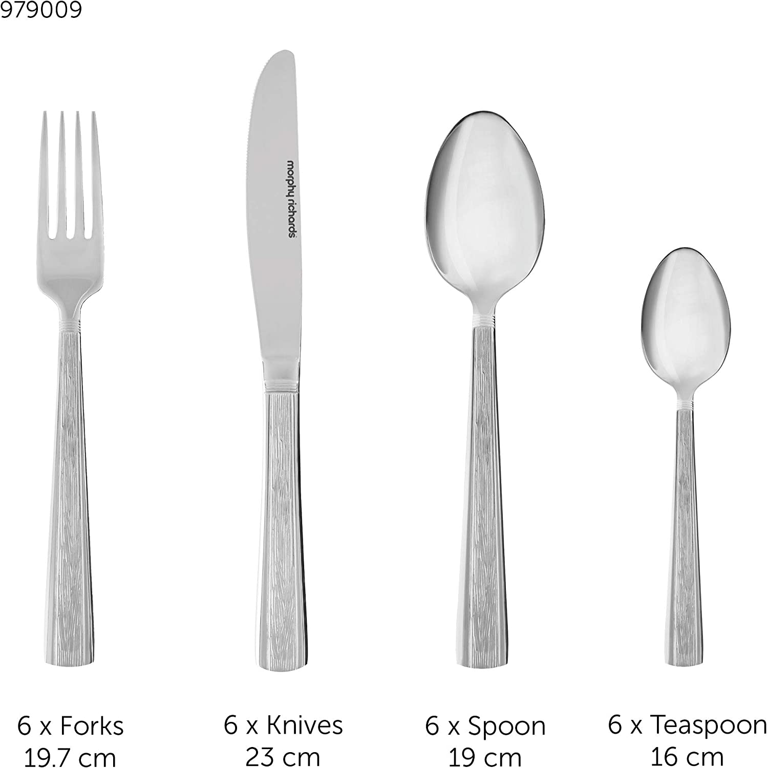 Morphy Richards Cutlery Set 24 Pieces Stainless Steel with Hammered Effect Design