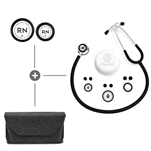 BJÖRN HALL Stethoscope kit for Nurses | Stethoscope, Black Carrying Case & Registered Nurse RN Diaphragms | Lightweight & Stylish | Perfect Gift for Any Nurse