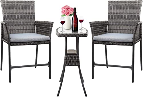 HL Patio Outdoor 3PCS Wicker Bistro Bar Set