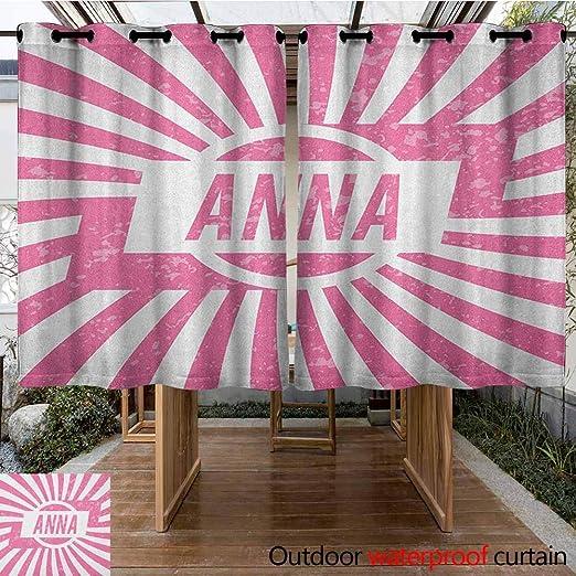 AndyTours - Cortina para Puerta corredera, diseño de Nombre de niña con diseño de Rayas y Aspecto de zumbido, Cortinas para salón, Color Rosa pálido y Blanco: Amazon.es: Jardín