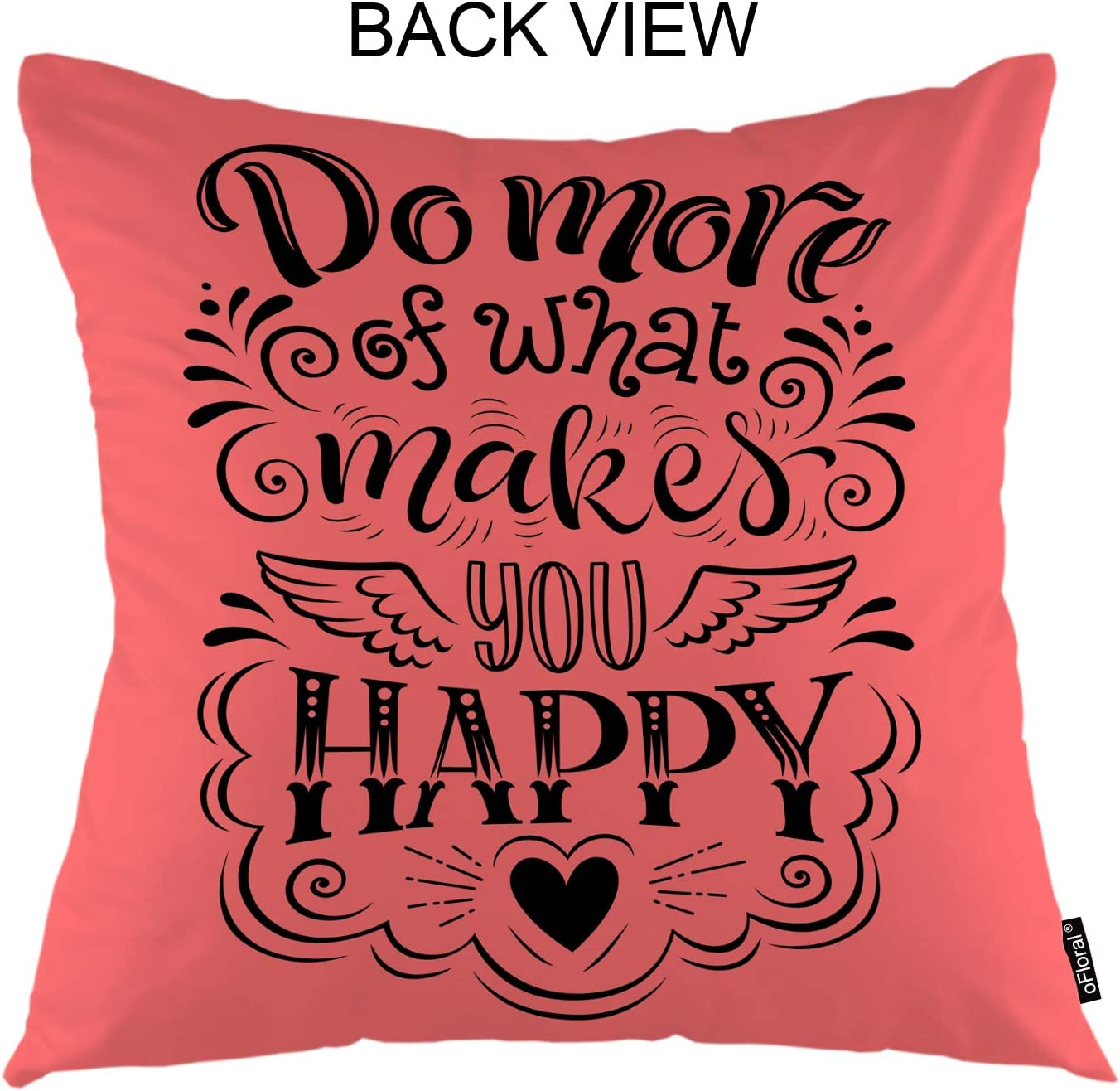 Ofloral Motivational Quote Throw Pillow Cover Advertising Board Calligraphy Letter Decorative Square Pillow Case 18 X18 Pillowcase Home Decor For Sofa Bedroom Home Kitchen