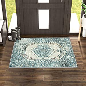 LIVEBOX Vintage Area Rug, 2'x3'Turquoise and Beige Bohemian Distressed Area Rugs Traditional Persian Oriental Design Throw Rug Floor Mat for Entryway Laundry Bedroom Carpet