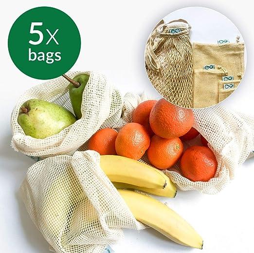 Bolsas reutilizables para productos, bolsa de malla de algodón ...
