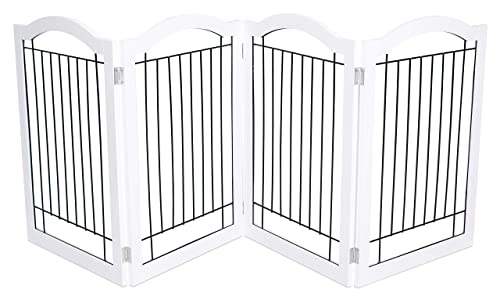 Internet s Best Wire Dog Gate with Arched Top – 4 Panel – 30 Inch Tall Pet Puppy Safety Fence – Fully Assembled – Durable MDF – Folding Z Shape Indoor Doorway Hall Stairs Free Standing – White