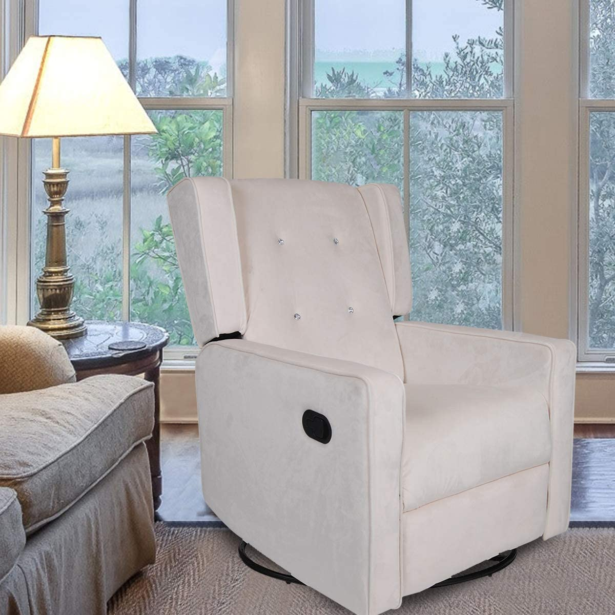 Polar Aurora Swivel Glider Rocker Recliner - Single Suede Tufted Gliding Chairs for Living Room Home Theater Beige