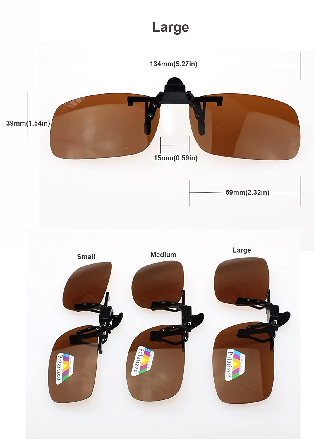 13b80a7184 Amazon.com  Jaky Lightweight Polarized Clip-on Sunglass With Compact Flip  Up Mount For Myopia Glasses Anti-Reflective UV400 UV Protection - Fits over  ...