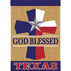 God Blessed Texas Cross Barn Star 18 x 13 Rectangular Burlap Double Applique Small Garden Flag
