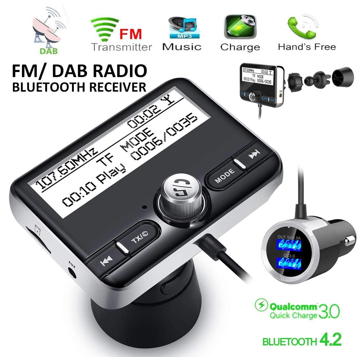 Carvicto - In-car DAB/DAB+ Radio Digital Radio Receiver Tuner USB Adapter FM Transmitter Antenna LCD Display Handsfree Calling W/Bluetooth