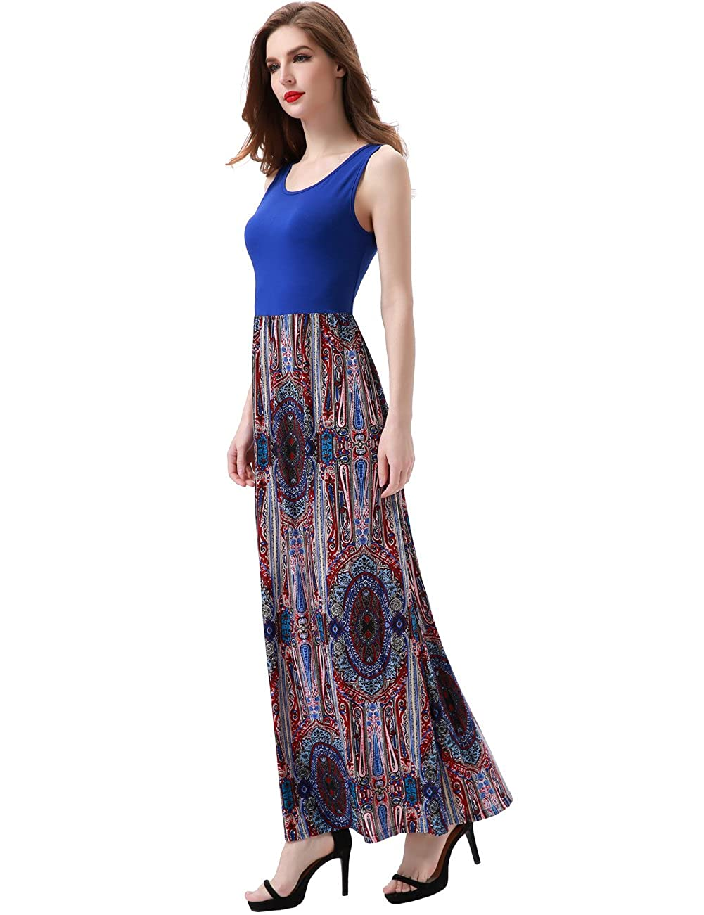 d5c4ee9c5a7 Aphratti Women s Bohemian Sleeveless Casual Long Tank Maxi Summer Sun  Dresses at Amazon Women s Clothing store