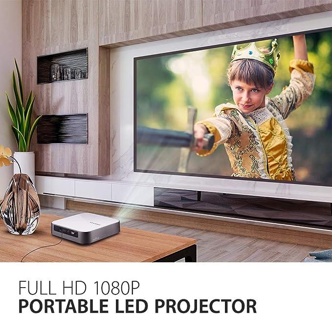 Viewsonic M2e Portabler Led Beamer Full Hd 1 000 Lumen Rec 709 Hdmi Usb Usb C Wlan Konnektivität Bluetooth Sd Kartenleser 2x 3 Watt Lautsprecher Weiß Silber Heimkino Tv Video