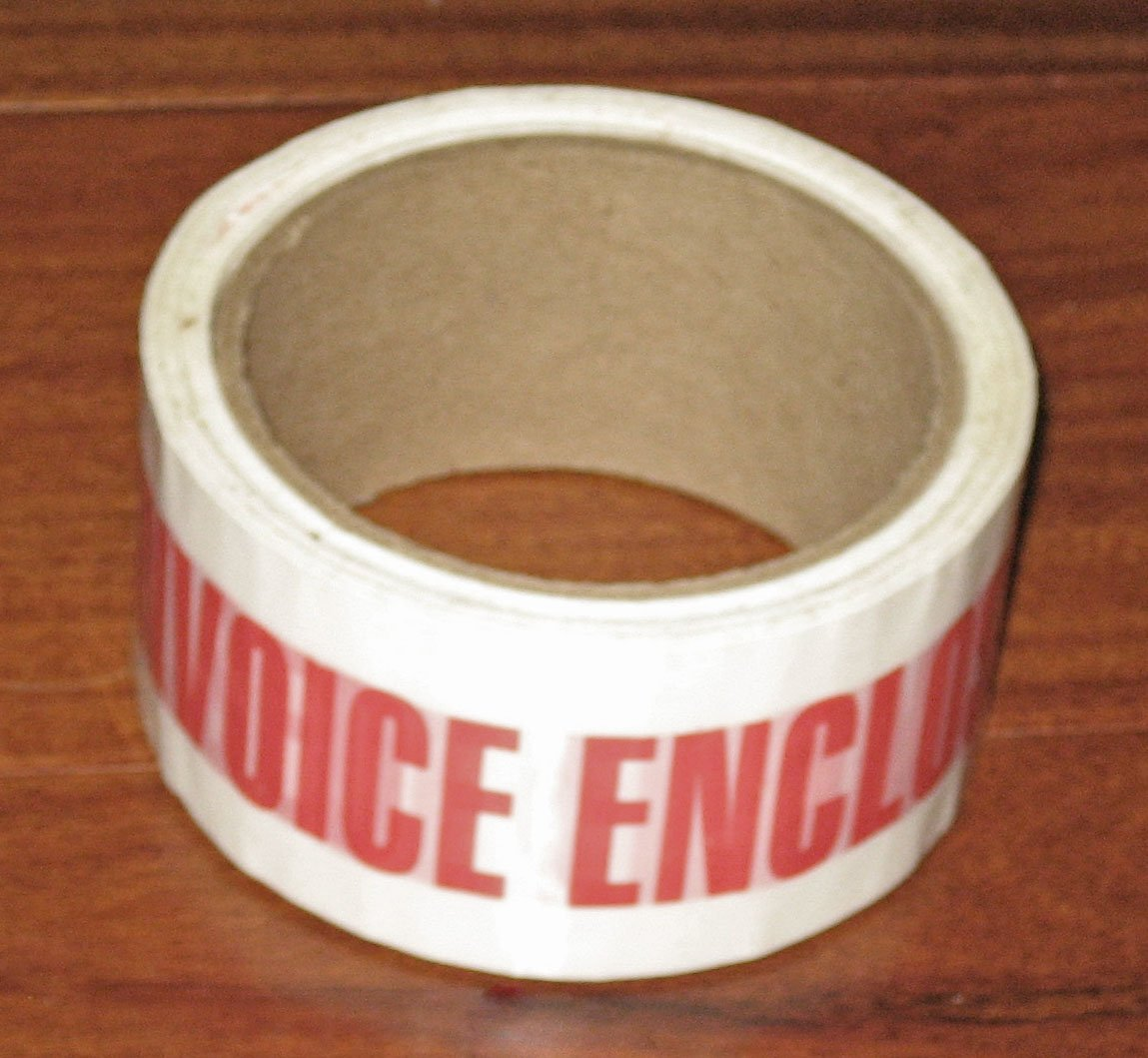 ''Invoice Enclosed'' Packaging Shipping Tape [1/2'' Roll] -1 Roll-