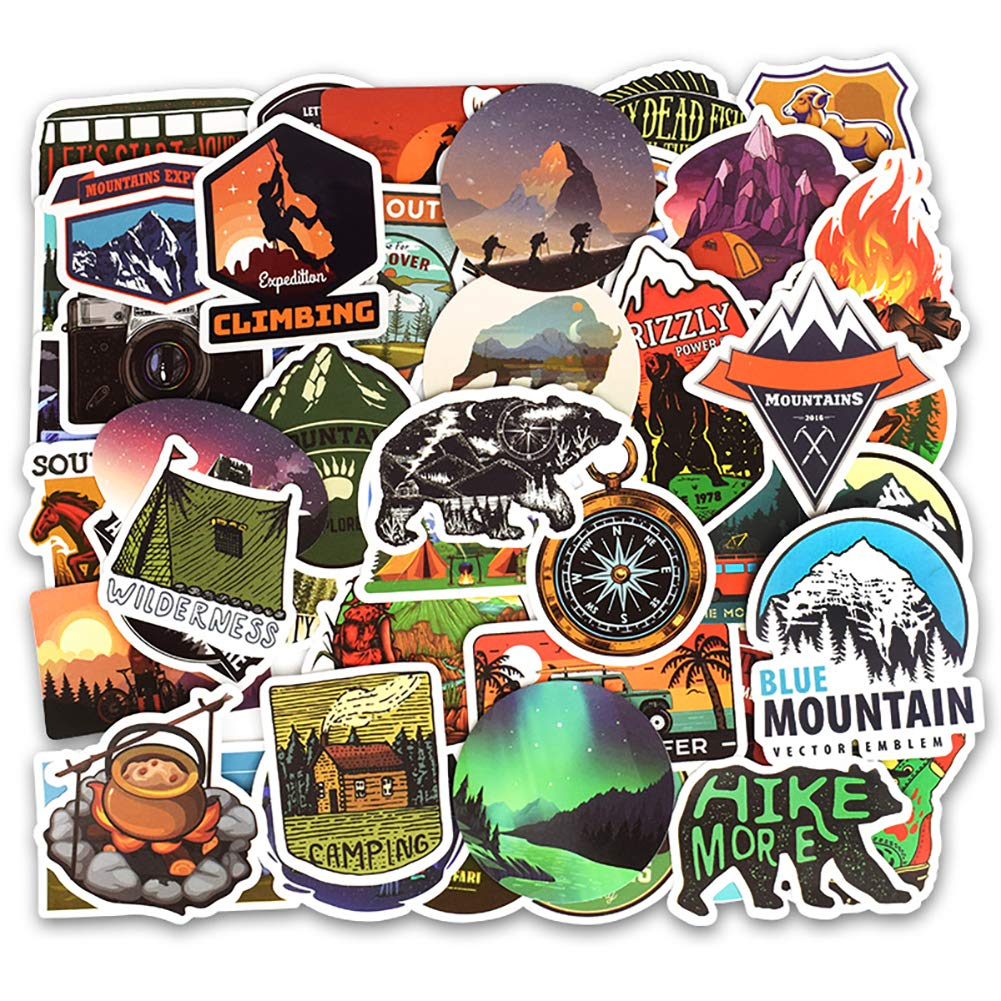 Honch wilderness nature stickers outdoors hiking camping travel stickers pack 50 pcs suitcase stickers vinyl decals for car bumper helmet luggage laptop