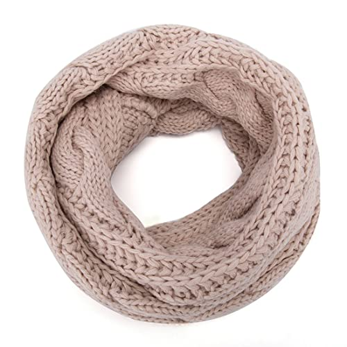 ALLMILL Womens Thick Ribbed Knit Winter Infinity Circle Loop Scarf