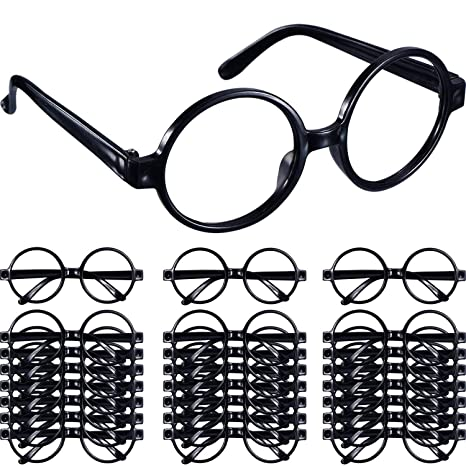 d1e2bb578b Image Unavailable. Image not available for. Color  Shappy 48 Pack Black  Plastic Wizard Glasses Round Glasses Frame for Kid Favor Costume Party  Supplies