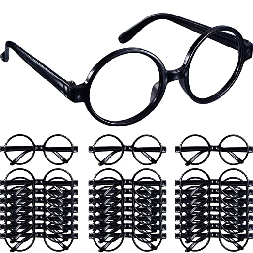 18e64d6dfe Amazon.com  Shappy 48 Pack Black Plastic Wizard Glasses Round Glasses Frame  for Kid Favor Costume Party Supplies