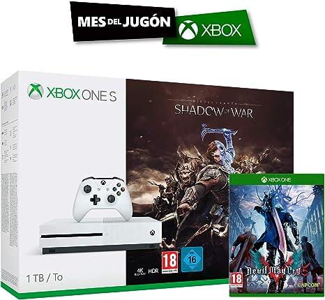 Xbox One S - Consola 1 TB + Sombras De Guerra + Game Pass (1M) + Devil May Cry 5: Amazon.es: Videojuegos