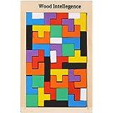 Irady Tetris Tangram Holzpuzzles Didaktisches Lernspielzeug 40 Pcs Intelligenz Pädagigisches Spielzeug für Kinder ab 3 Jahre
