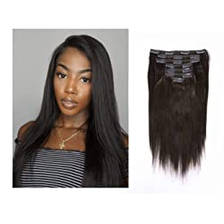 Lacerhair Real Remy Human Light Yaki Hair Clip in Hair Extensions