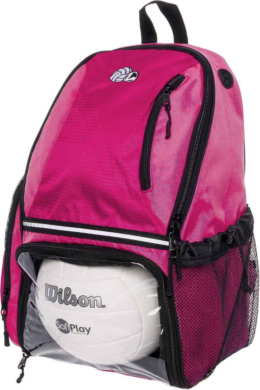 LISH バレーボールバックパック - 大きなスクールスポーツバッグ ボールコンパートメント付き ピンク