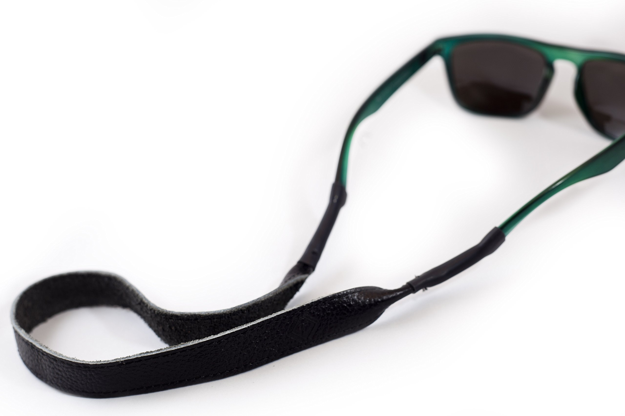 Black Leather Eye Wear Retainer / Sunglass Strap / Eye Wear Strap by TETHER