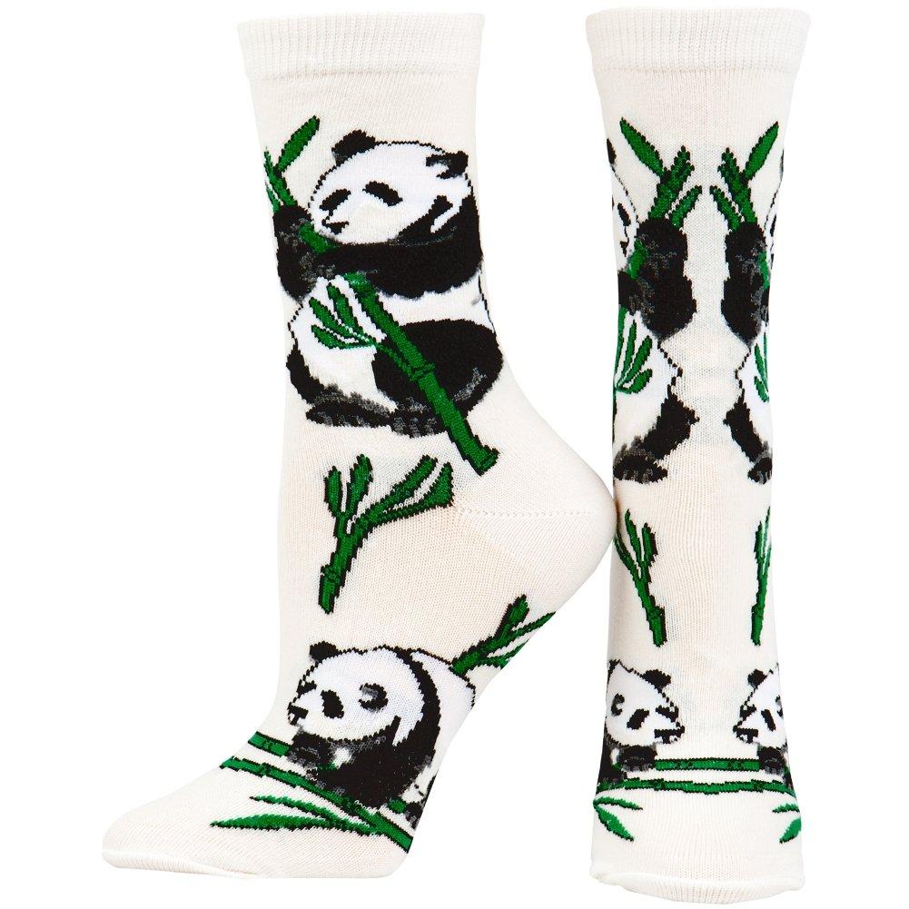 Animal World - Panda Eating Bamboo Women's Socks Off-White