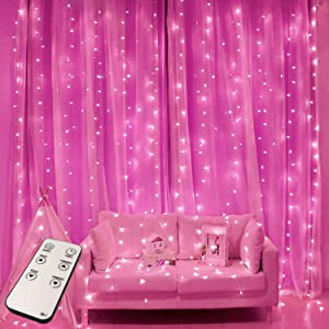JMEXSUSS Remote Control 300 LED Pink Curtain Lights 8 Modes Window Curtain Christmas String Light for Wedding Party Garden Bedroom Outdoor Christmas Indoor Decorations (Pink)