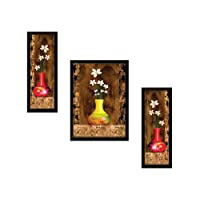 "SAF""Flower Print"" Framed Painting (Synthetic, 13.5 inch x 22 inch, UV Textured, Set of 3, SANFSW4951)"