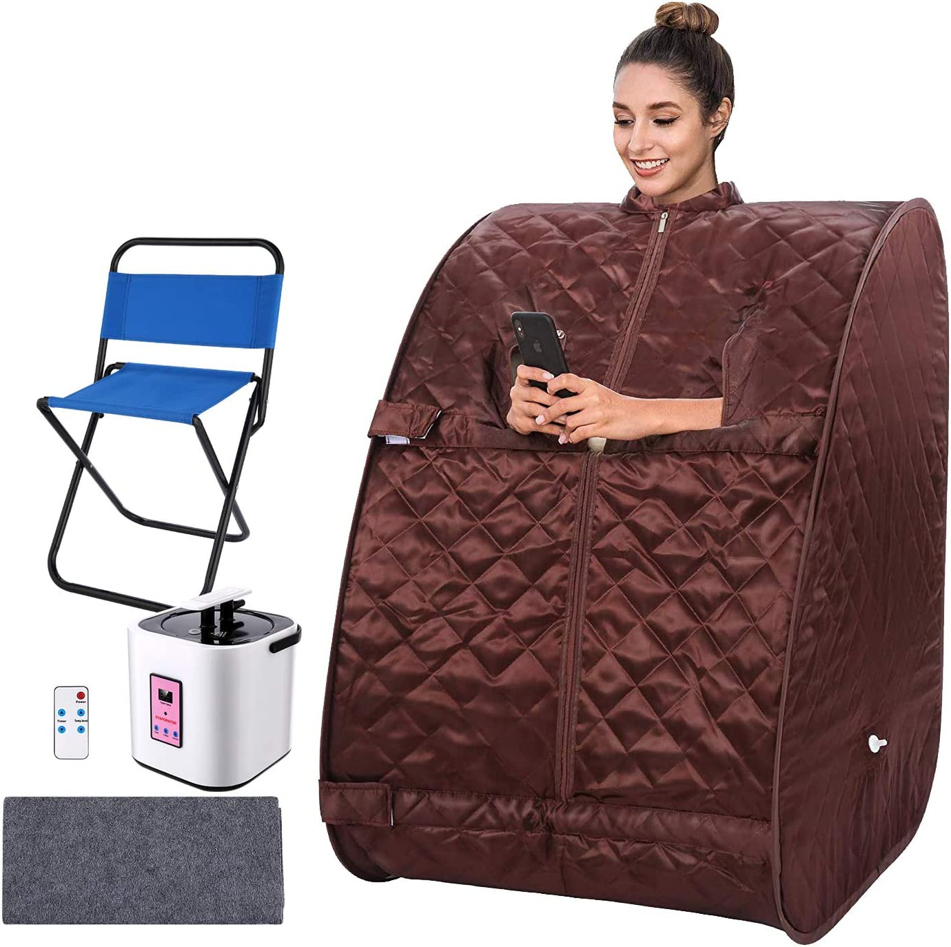 Portable Home 2L Steam Sauna with Remote Control,Indoor Foldable Steam Sauna Tent Spa Pot Loss Weight Detox Relaxation with Foldable Chair Timer Coffee