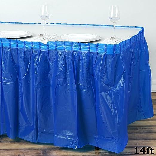 efavormart 5 pcs 14 pies mesa de plástico desechables falda Plain ...