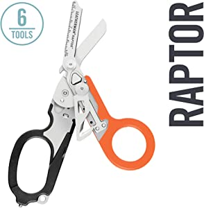 LEATHERMAN, Raptor Emergency Response Shears with Strap Cutter and Glass Breaker, Black-Orange with Utility Holster