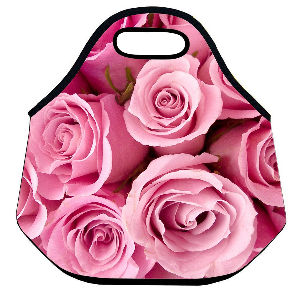 d618c4d73662 Amazon.com: CELYCASY Large Insulated Lunch Bag Pink Roses Flower ...