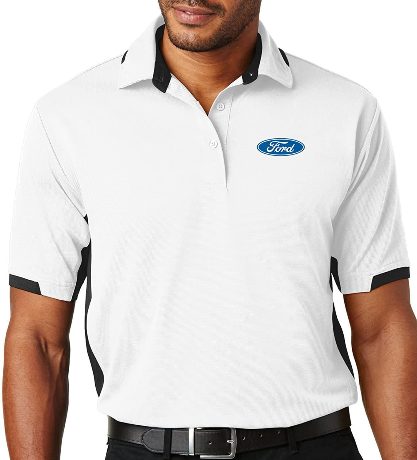 8cd06c7a1cf784 Features an officially licensed Ford Oval Emblem 100% Snag-resistant  polyester 3-button placket. Set-in, open hem sleeves with contrasting rib  knit detail