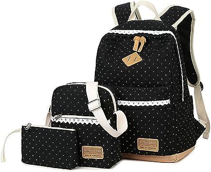 Schulrucksack Mädchen Canvas Rucksack Damen Schul SchulranzenSchultasche 3 in 1 (Schwarz)
