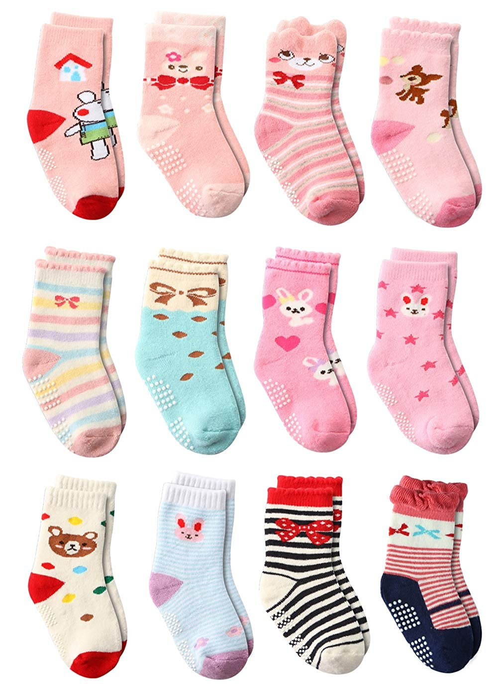 12 Pairs Infant Newborn Thick Cotton Socks, Baby Girls Toddler Girl Non Skid Socks with Grips Little Girl Slipper Socks