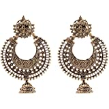 Ganapathy Gems Oxodised Silver Chand Bali With Jhumki for Women