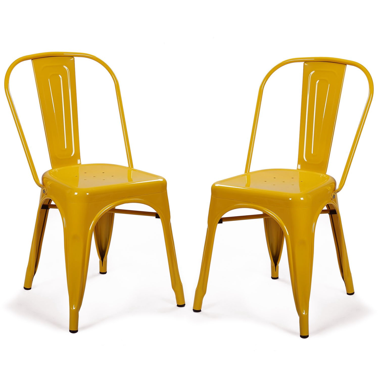 Adeco Metal Stackable Industrial Chic Dining Bistro Cafe Side Chairs, Yellow (Set of 2)