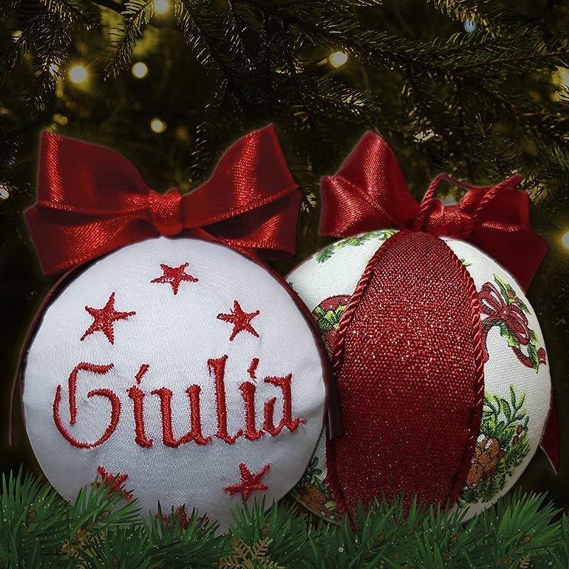 set da 4 palline di Natale personalizzate 8 cm nome ricamato decorazione natalizia personalizzabile scegli tu i modelli Crociedelizie
