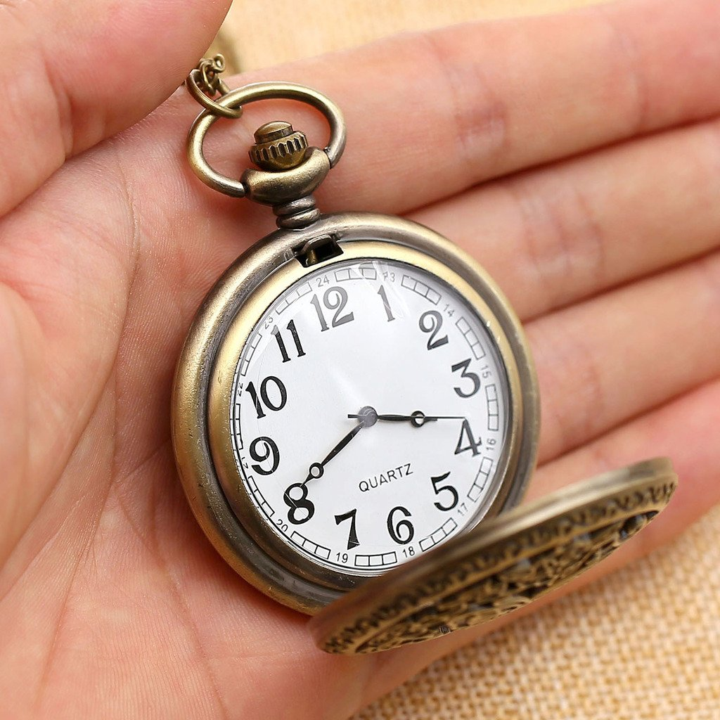 Top Plaza Vintage Bronze Antique Unisex Hollow Butterfly Carving Arabic Numeral Scale Quartz Pocket Watch with Chain